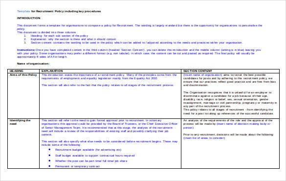 template for recruitment policy including key procedures1