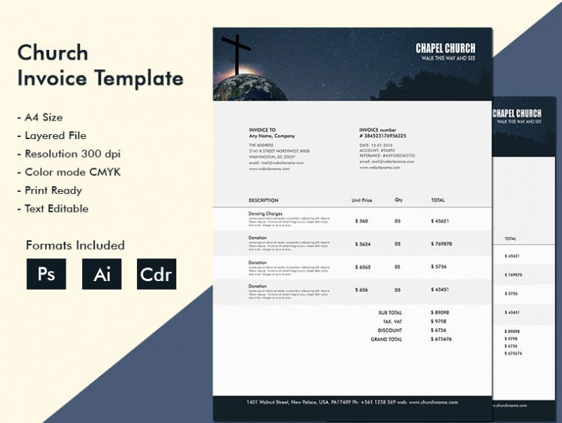 ravishing church a4 invoice template