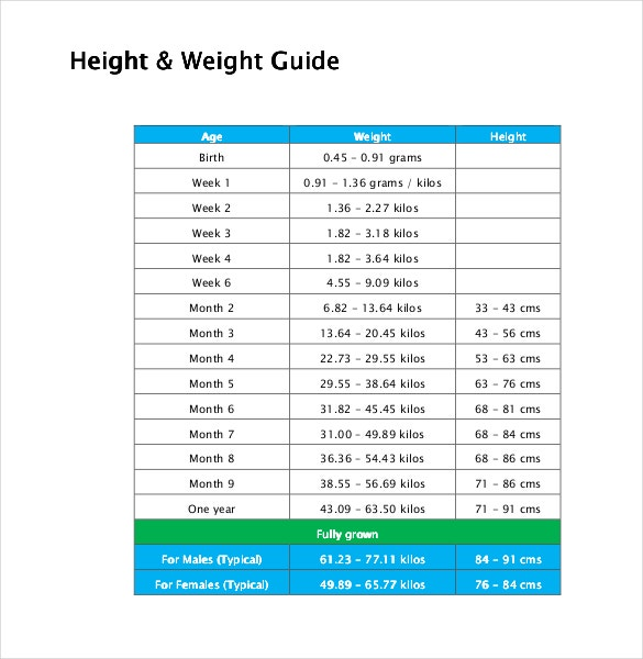 General Height Weight Guidelines Chart PDF Document Template