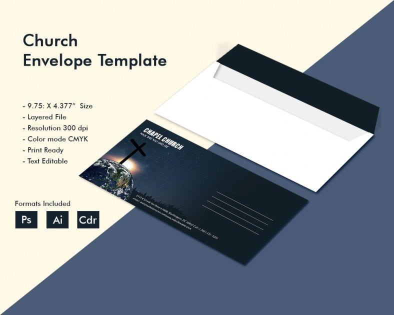 dazzling church envelope template free premium templates. Black Bedroom Furniture Sets. Home Design Ideas