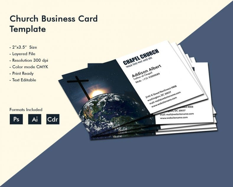 Simple Church Business Card Template BusinessCard