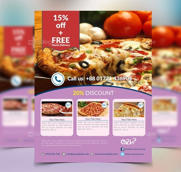 easy to color change modern pizza flyer template