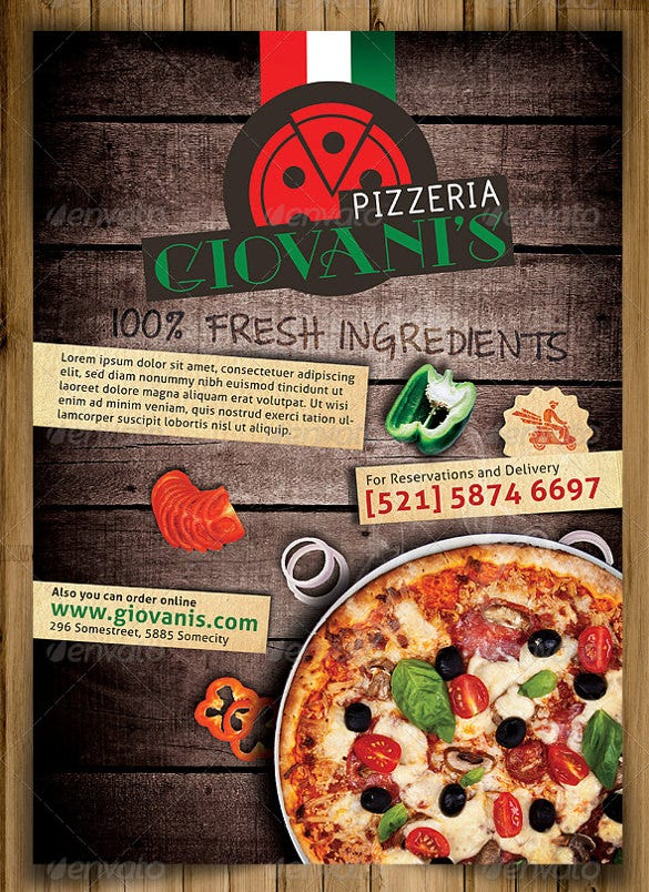 pizzeria flyer template with contact details