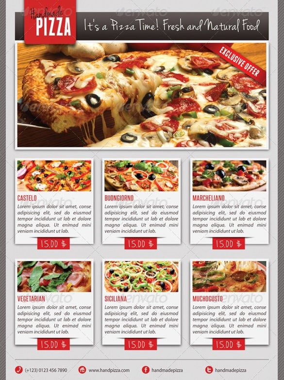 pizza flyer template with menu