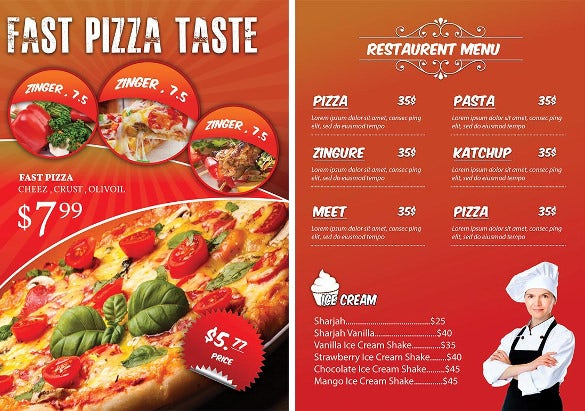 fast pizza flyer template with menu details