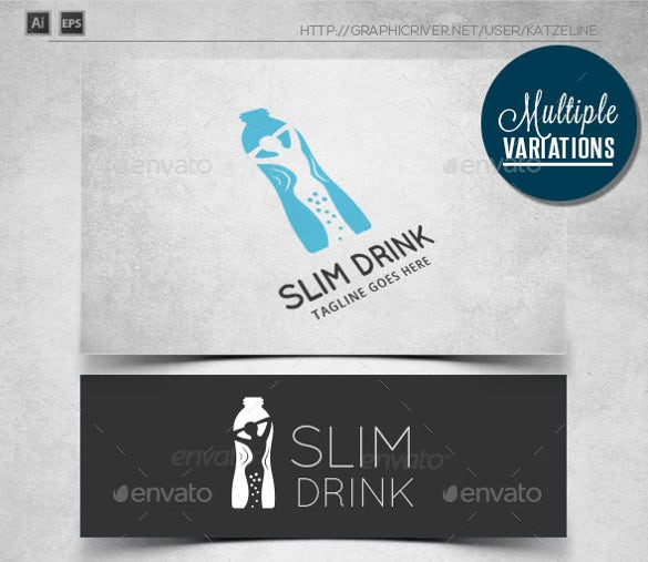 healthy slim drink logo template
