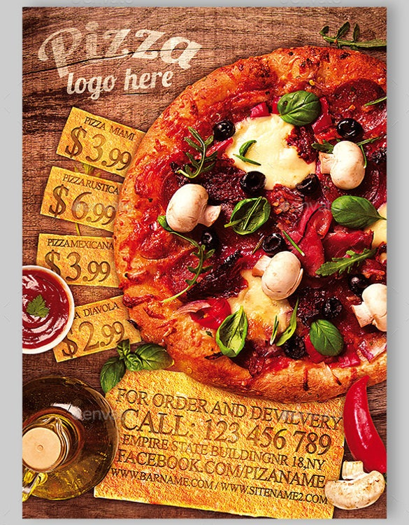 colorful pizza restaurant flyer template