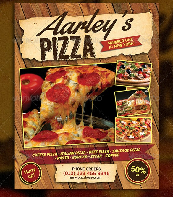 cheese italian pizza flyer template