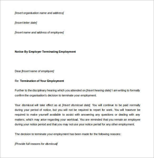 26 Notice Period Letter Templates Free Sample Example Format – Employer Certificate Format