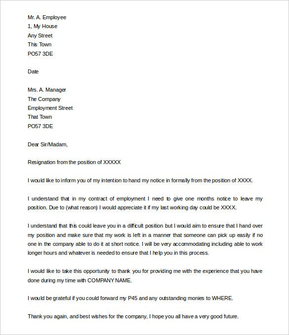free notice period resignation letter example