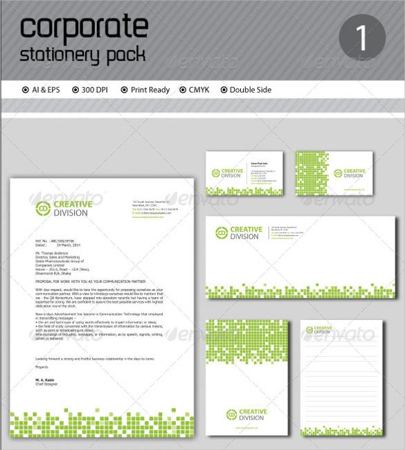 corporate stationery ai illustrator template download