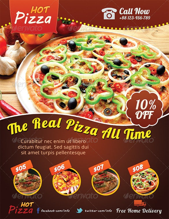 ready to print hot pizza flyer template