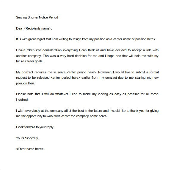 Elegant Serving Shorter Notice Period Letter Template