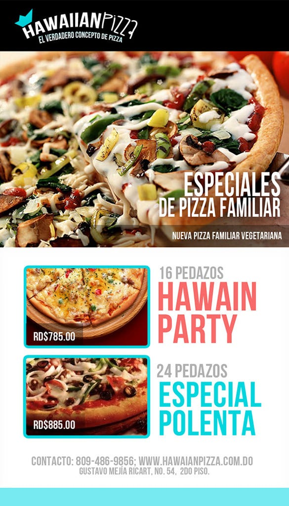 hawaiian pizza flayer template