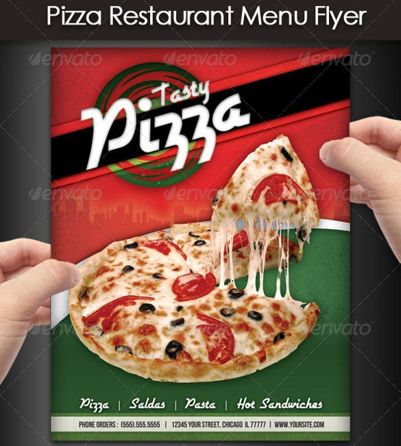 tasty pizza restaurant flyer template