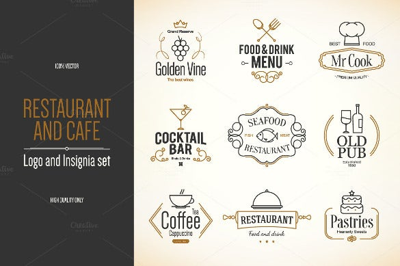 restaurant and cafe logo template