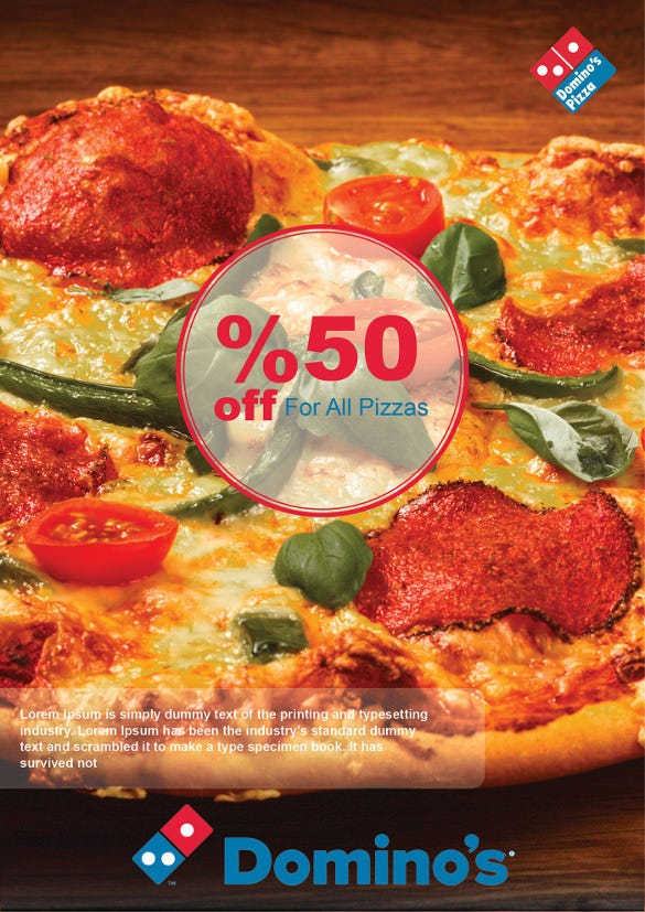 dominos pizza flyer template with discount