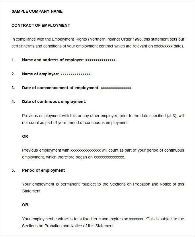 sample contact of employee