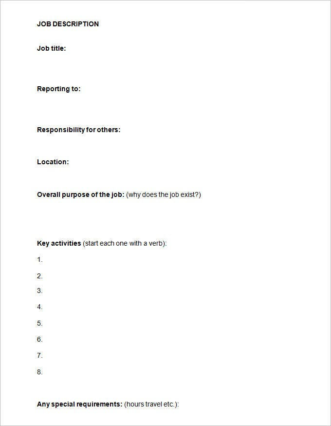 sample job description template