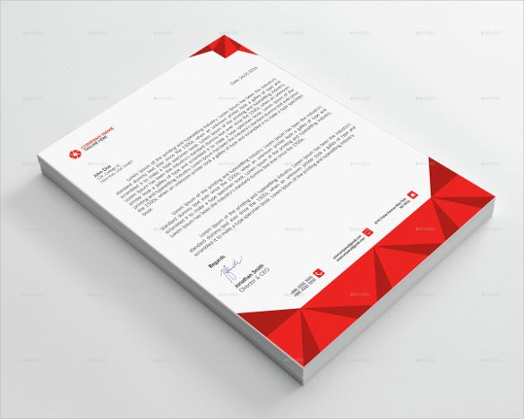 corporate letterhead in red colour