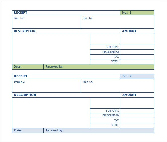 blank payment receipt template in word