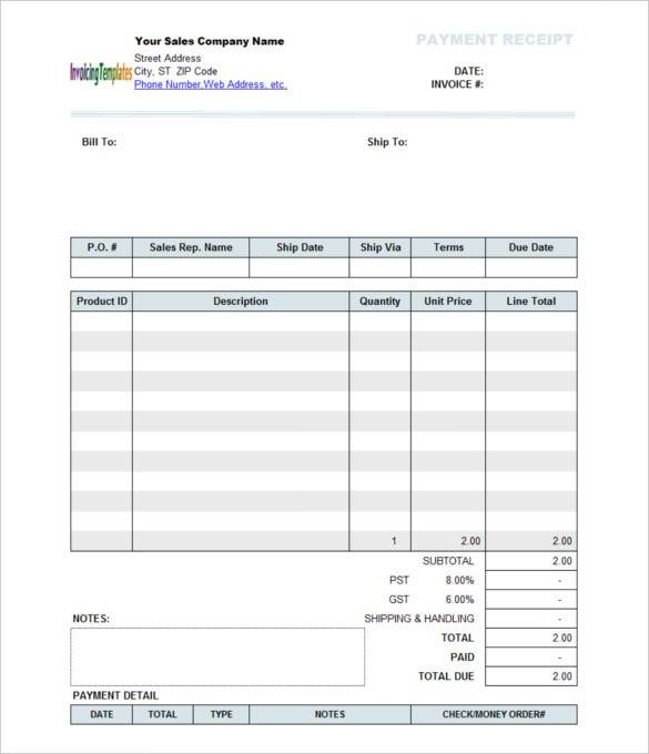 Great Company Sales Payment Receipt Template Regard To Payment Receipt Templates