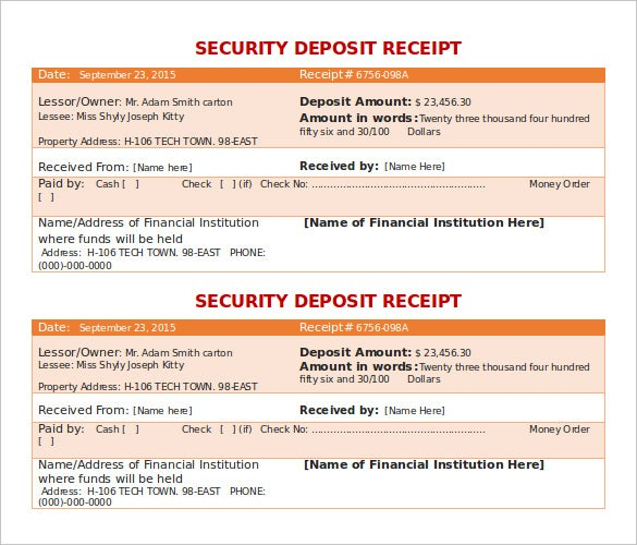 download security deposit receipt template doc for free