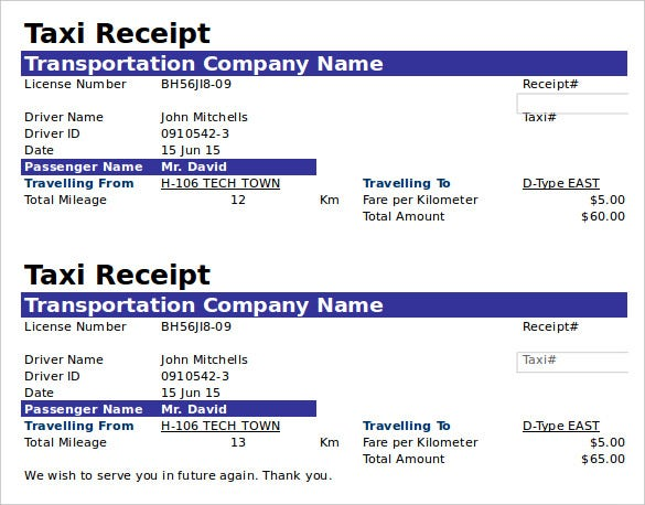 18 Payment Receipt Templates Free Sample Example Format – Taxi Bill Format in Word