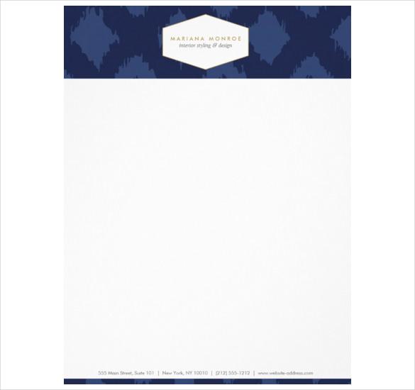 Ikat Pattern In Blue Designer Letterhead Template Download