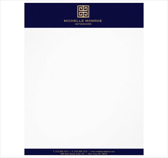 greek key interior designer dk blue letterhead