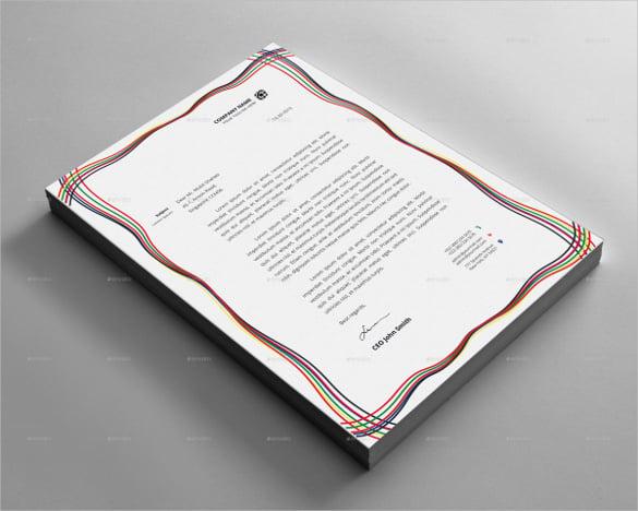 letterhead design with colours lines