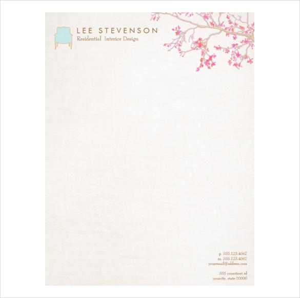 interior design letterhead template download