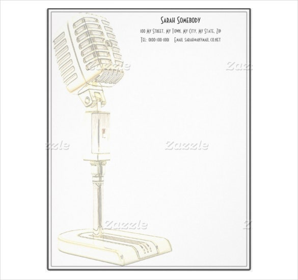 vintage microphone design letterhead template download