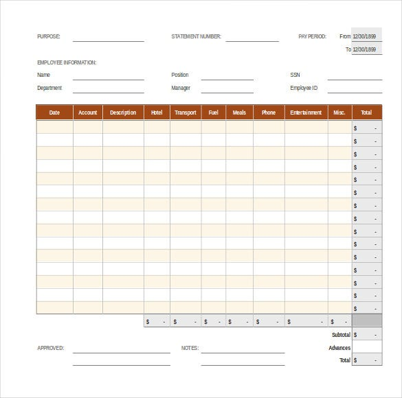 8 Expense Report Templates Free Sample Example Format – Free Expense Reports