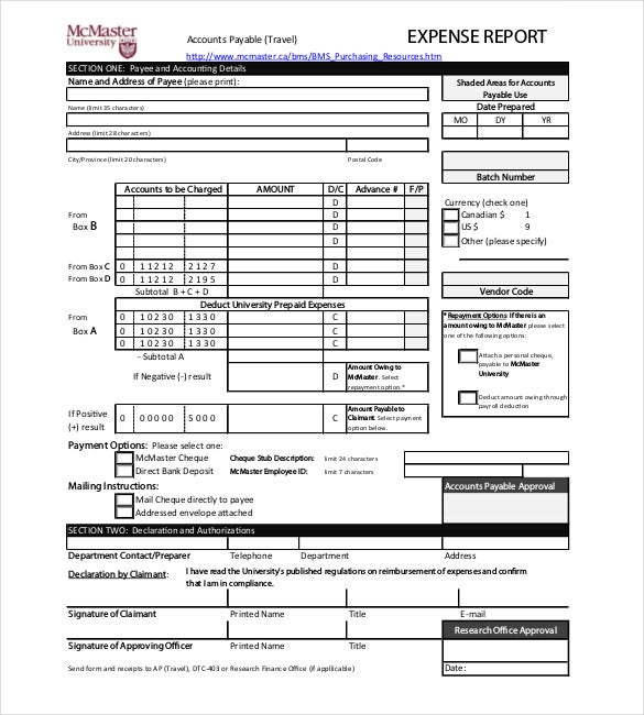 expenses report example