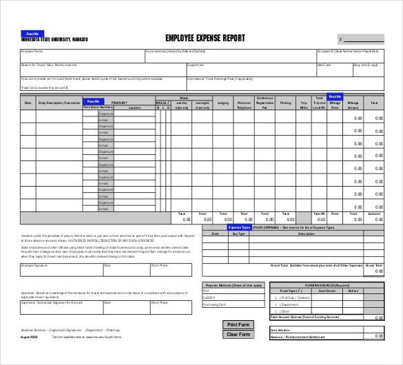 Employee Expense Report PDF File  Monthly Expense Report Form