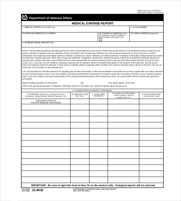 Medical Expense Report Template Sample Download  Free Expense Reports
