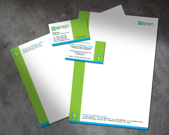 construction company letterhead in green colour template