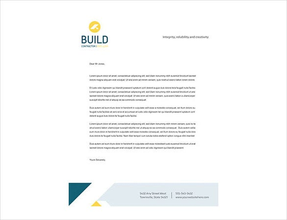 construction company letterhead in white background