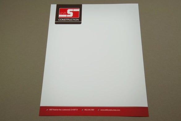 construction company letterhead in red colour