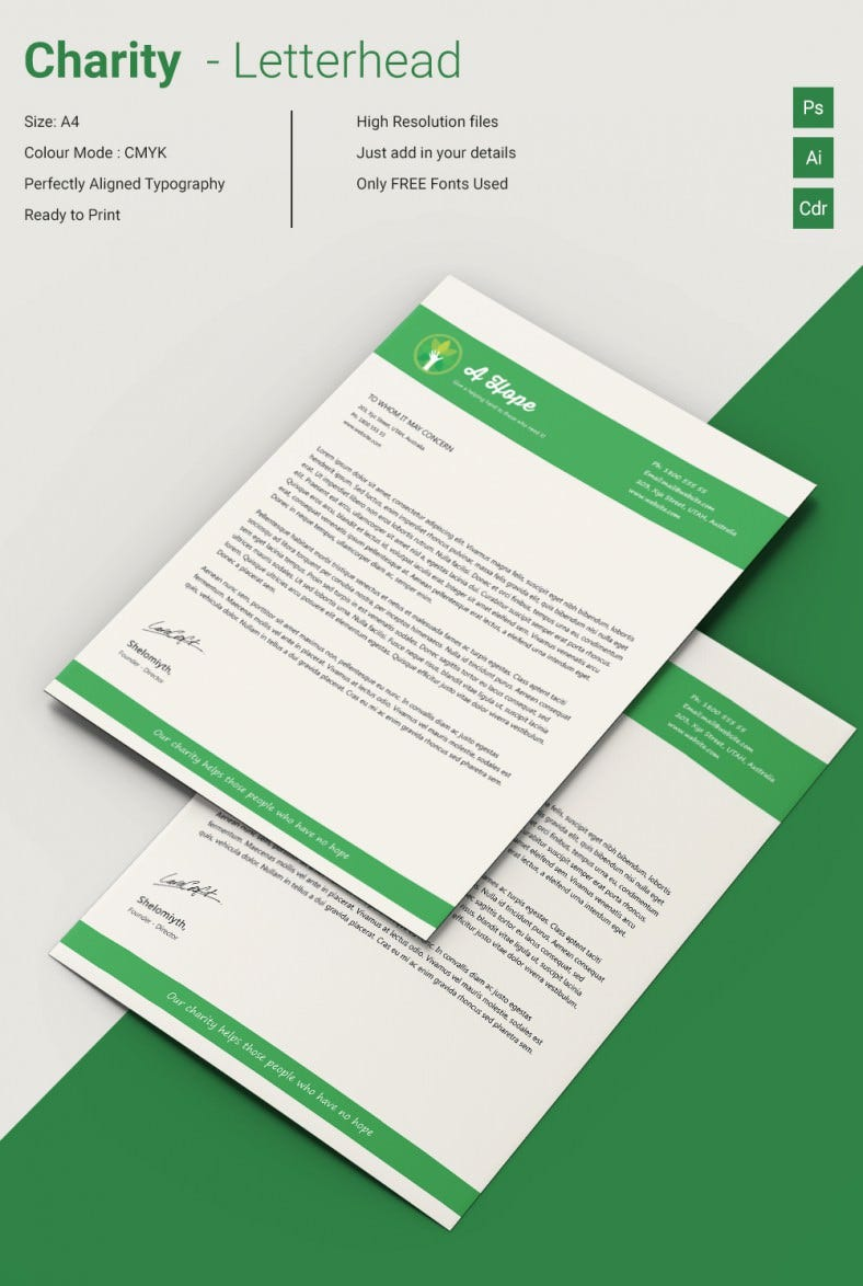 Lavish Charity A4 Letterhead Template  Headed Paper Template Free