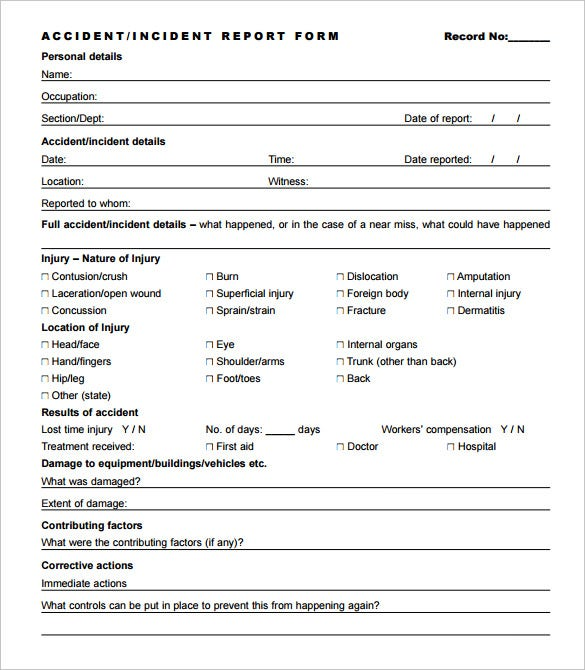 Incident Report Form  WowcircleTk
