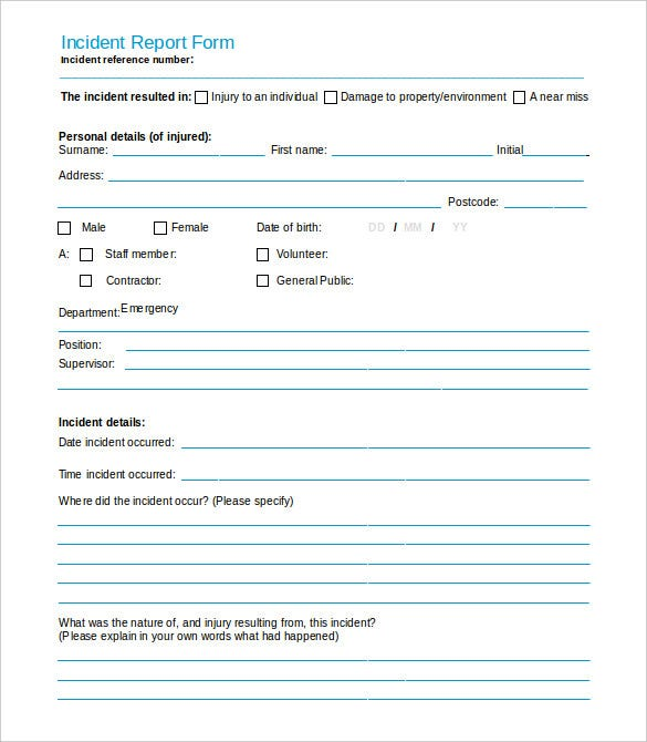 Download Health U0026 Human Services Incident Report Form Intended Incident Form Template