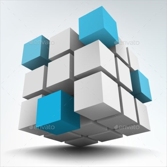 simple 3d cubes template
