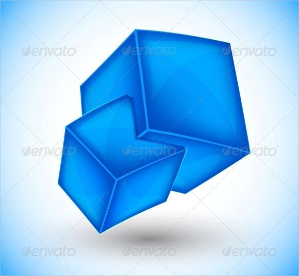 3d blue cubes templates