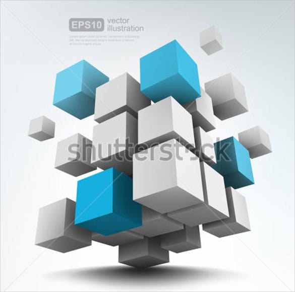 3d cube vector template
