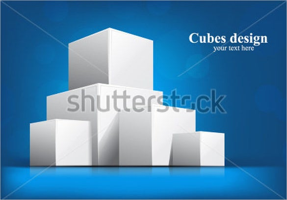 3d cube bright blue template