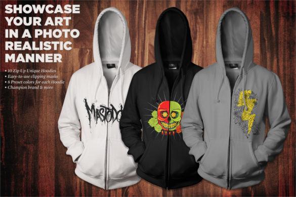 zip up hoodie mockup kit template download