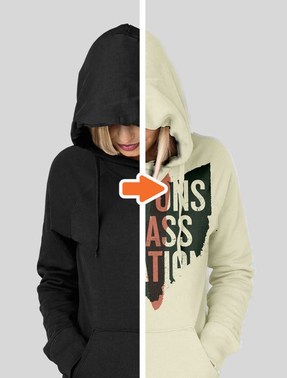 premium ladies ghosted hoodie mockup psd download