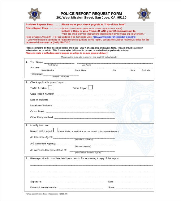 Sample Police Report Template 6 Free Word PDF Documents – Report Form Template